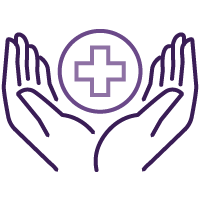 Hands holding medical symbol icon.