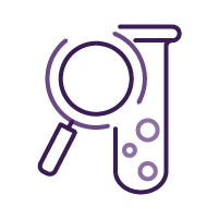 Magnifying glass and test tube icon.